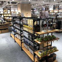 日用品展示架茶叶柜木质展柜钢木架超市货架定制专卖店架子