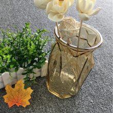 欧式玻璃花瓶透明竖棱彩色大号简约餐桌插花水培绿萝干花客厅摆件创意家居室内装饰品摆件