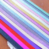 幸运星星的金粉磨砂折纸条糖果色闪粉五角手工制作彩色闪亮闪光叠