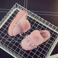 棉拖鞋高跟女冬季厚底韩版时尚毛毛拖鞋家居保暖防滑5厘米高棉拖