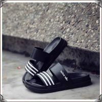 夏季新款家居室内浴室防滑男式凉拖鞋 室外时尚条纹厚底塑料拖鞋