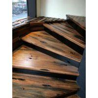 室内旋转楼梯实木复式阁楼楼梯转角楼梯老船木楼梯别墅复式楼梯整体定制