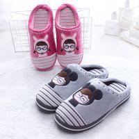 2018新款棉拖鞋 冬季保暖可爱包跟拖鞋冬室内居家卡通棉拖批发