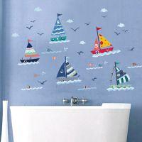 蓝色地中海风格灯塔海鸥帆船宿舍卧室沙发背景墙贴纸相片照片贴画