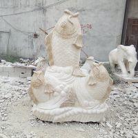 厂家直销 黄岗岩黄锈石鱼雕刻 石雕鱼鲤鱼雕刻 流水摆件加工定做