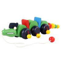 儿童益智早教玩具 木质传统地摊拖拉玩具 学步拖拉车 小鳄鱼拖车