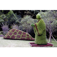 弥勒佛绿雕造型 南极仙翁仿真植物造型 成都植物景观