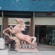 石雕马晚霞红腾飞马到成功奔腾马雕塑大理石动物装饰工艺品摆件曲阳万洋雕刻厂家定做