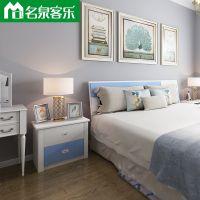 大连板式家具蓝白高光3102简约现代床头柜 大连家具工厂直销