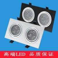 LED方形射灯双头三头6-36W瓦格栅斗胆孔洞灯方型天花灯黑银白壳