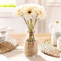 客厅仿真花整体花艺麻绳玻璃花瓶配短杆非洲菊7支H