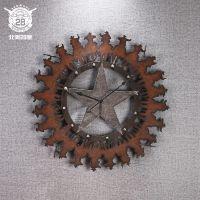 创意做旧铁工艺时钟挂件 酒吧客厅婚纱馆个性创意墙面挂钟工艺品