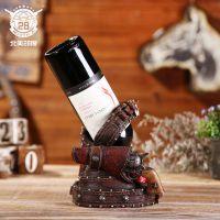 美式乡村树脂工艺品酒架 复古手工红酒葡萄酒展示架定制家居用品
