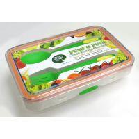 【香港品牌】透明长方形800ML 食用级pp塑料学生饭盒 含餐具餐盒便当盒 创意卡通透明餐盒