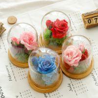 永生花礼盒玻璃罩玫瑰花绢花干花仿真花生日情人节礼物送女友摆件