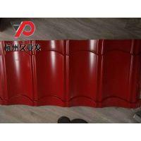 红色宝钢仿古琉璃瓦825型,彩钢屋脊瓦,滴水
