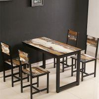 快餐桌椅组合一桌四椅快餐店桌椅简约做旧餐桌复古奶茶店吃饭桌子