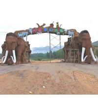 大型动物园入口水泥门拱工程施工 乐园大门水泥景观工程