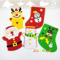 圣诞快乐儿童DIY手偶 不织布手工创作创意DIY圣诞老人贴画缝纫玩