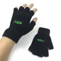 初音字样半指露指毛线针织手套冬季学生卡通保暖户外骑行多用手套