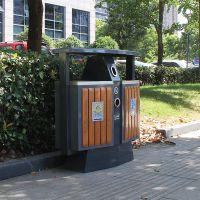 环保垃圾桶可分类双桶木条垃圾桶生产厂家