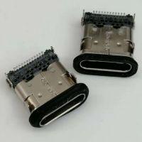 TYPE-C 板上防水母座 24P/四脚插板/前插后贴/板上高度H=3.96/带柱/带防水胶圈/黑胶