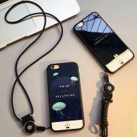 卡通苹果X手机壳6s外壳iPhone7plus保护壳挂绳挂脖防摔情侣硅胶套