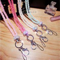 新款珍珠项链镶钻挂脖石膏珍珠镶钻手机挂绳通用手机挂件