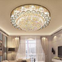 客厅水晶灯复式楼金色圆形led吸顶灯创意现代餐厅卧室吸顶灯灯具