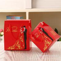 批发喜糖包装盒子创意结婚用品喜糖手提袋中式结婚婚庆用品纸盒