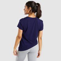 瑜伽服加工健身跑步网纱拼接运动短袖T恤修身透气吸汗上衣女广州瑜伽服加工厂 乐尼服饰