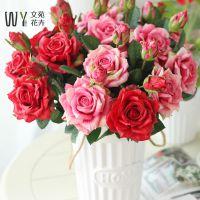 湿感玫瑰花花束仿真结婚摆放假花花卉装饰花客厅室内餐桌摆件绢花