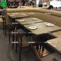 广州小幸福蟹煲主题餐厅餐桌定制 复古大理石中式餐桌 多多乐家具