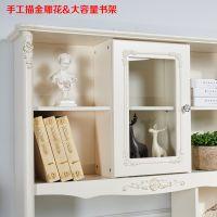 欧式书桌书架组合电脑桌台式家用卧室成人多功能抽屉书柜书桌一体