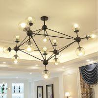 黑色创意分子铁艺魔豆吊灯 北欧玻璃球个性客厅餐厅吊灯 酒吧灯