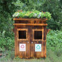 防腐木路边花箱花架 实木户外垃圾箱垃圾桶厂家直销