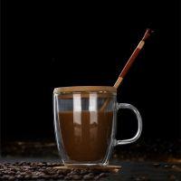创意双层玻璃杯带盖加厚耐热玻璃杯马克杯咖啡杯双层玻璃杯水杯