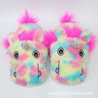 新款浪漫彩虹动物半包跟居家棉鞋毛绒彩虹马可爱创意包脚室内拖鞋