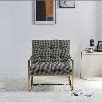 样板房售楼处后现代简约不锈钢单人沙发椅家用时尚香槟金休闲椅子