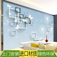 2018年新款电视背景墙壁纸简约简单3d蝴蝶方框大方墙纸5d优雅