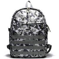 2018迷彩双肩包男式学生书包休闲USB充电背包定做