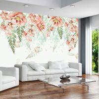 厂家直销手绘现代唯美红花客厅电视背景墙无缝无纺布大型壁画定制