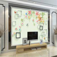 3D无缝壁纸 清新田园风浮雕花卉墙纸 蝶恋花客厅电视背景墙墙布