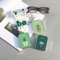 隐形近视眼镜盒两副装美瞳伴侣盒子小清新绿色仙人掌便携简约可爱
