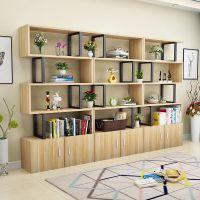 简易落地书架客厅隔断组合书柜化妆品展示柜理发店货架钢木置物架