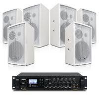 会议音响套装组合 狮乐背景音乐蓝牙功放AV8820专业木制音响BX208(白色)设备