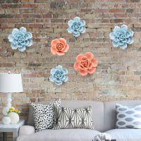 居家家立体陶瓷花朵墙面装饰品卧室墙饰创意墙上挂饰壁饰墙壁挂件