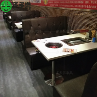 ·简约现代烤涮一体烧烤桌 大理石材质韩国烤肉无烟烤炉深圳多多乐厂家订做