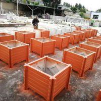 绿化景观水泥仿木花箱厂家批发 景观花盆批发 钢筋混凝土水泥花箱定制