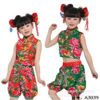 新款儿童演出服舞台表演幼儿秧歌套肚兜灯笼裤套装幼儿民族舞蹈服